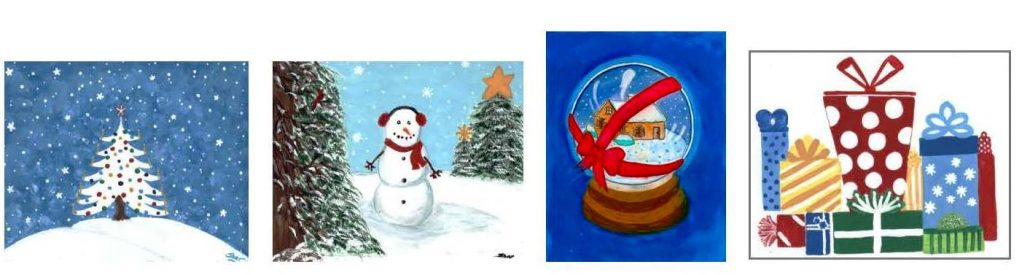 four holiday cards