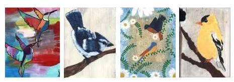four cards with birds